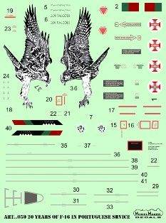 Model Maker Decals 1/72 20 Years of F-16 in Portuguese Service # D72059