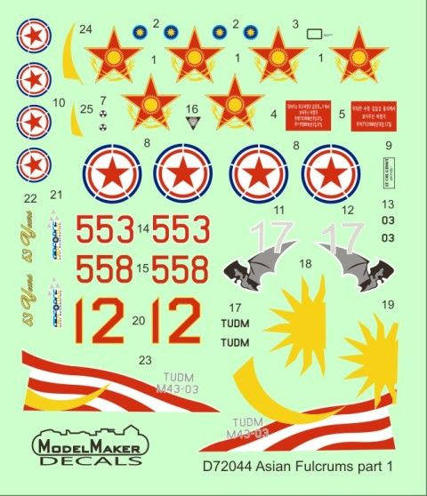 Model Maker Decals 1/72 Asian Fulcrums Part 1 # D72044