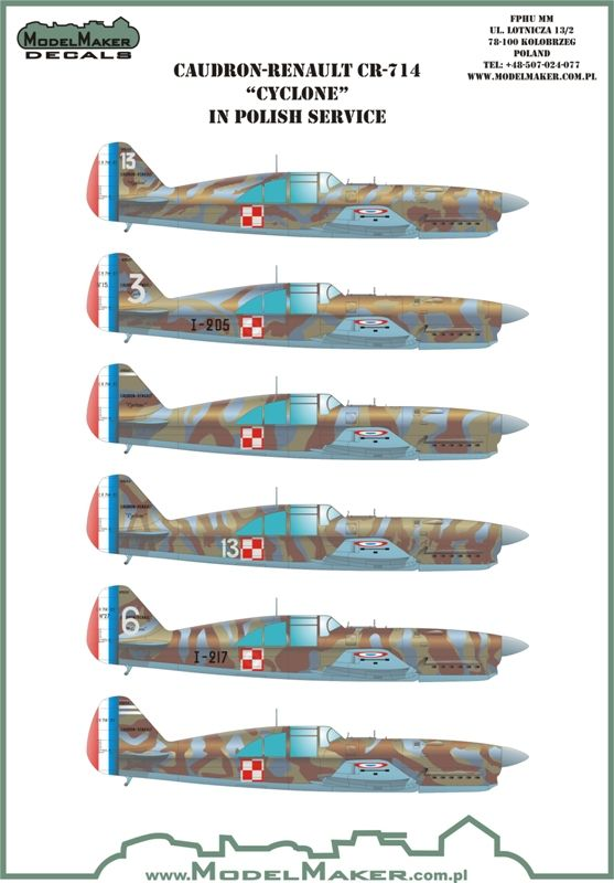 Model Maker Decals 1/72 Caudron-Renault CR.714 Cyclone in Polish Service # D72075