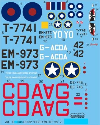 Model Maker Decals 1/72 de Havilland DH.82A Tiger Moth Vol.2 # D72036