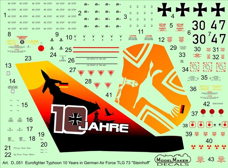 "Model Maker Decals 1/72 Eurofighter Typhoon 10 Years in German Air Force TLG 73 ""Steinhoff"" # D72051"