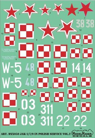 Model Maker Decals 1/72 Jak-1/7/9 in Polish Service Vol.2 # D72050