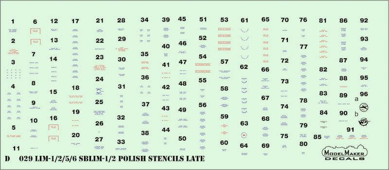 Model Maker Decals 1/72 LiM-1/2/5/6/SBLim-1/2 Polish Stencils Late # D72029