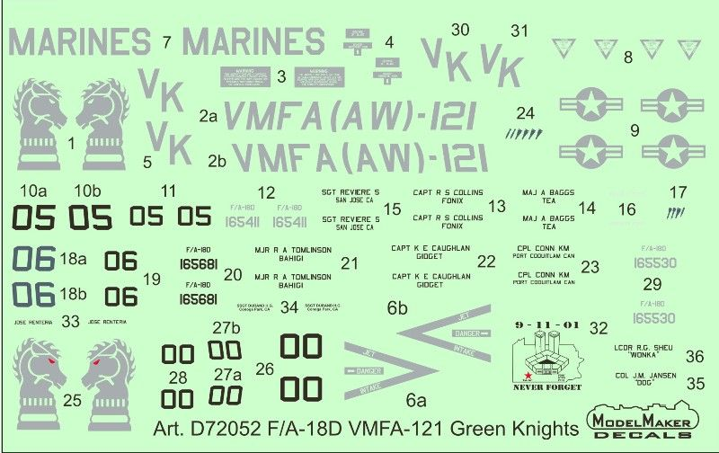 Model Maker Decals 1/72 McDonnell-Douglas F/A-18D VMFA-121 Green Knights # D72052