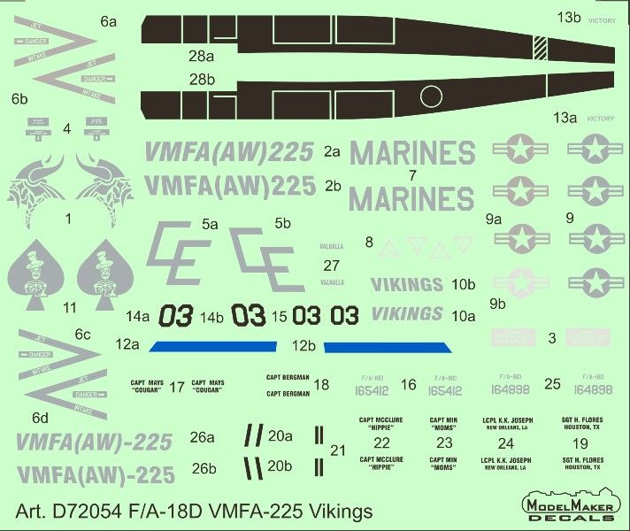 Model Maker Decals 1/72 McDonnell-Douglas F/A-18D VMFA-225 Vikings # D72054