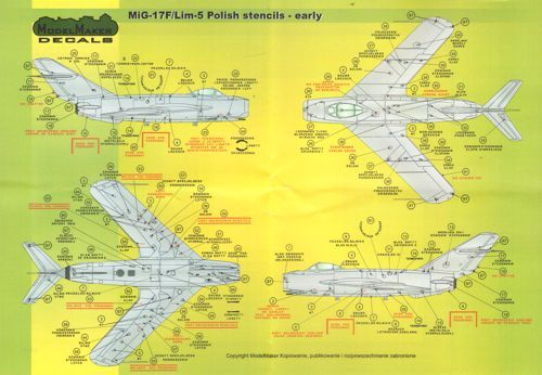 Model Maker Decals 1/72 Mikoyan MiG-15/Lim-1/2 Early Version Stencils # D72026
