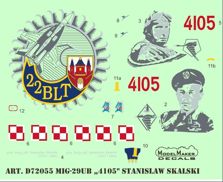 "Model Maker Decals 1/72 Mikoyan MiG-29UB ""4105"" Stanislaw Skalski # D72055"