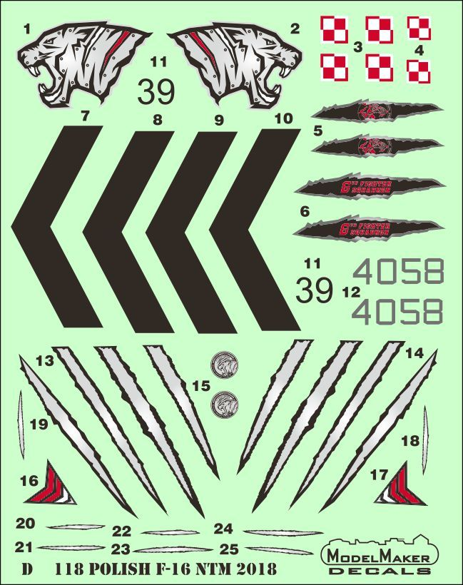 Model Maker Decals 1/72 Polish F-16 NATO Tiger Meet 2018 # D72118