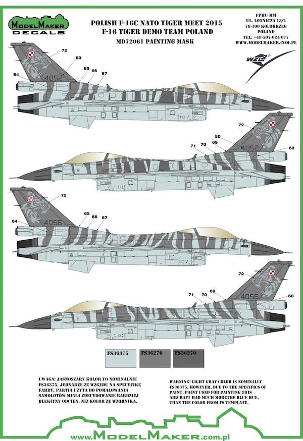Model Maker Decals 1/72 Polish F-16C NATO Tiger Meet 2015 - F-16 Tiger Demo Paint Mask # MD72061