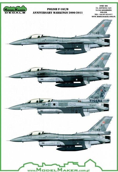 Model Maker Decals 1/72 Polish Lockheed-Martin F-16C/D Anniversary Markings 2006-2011 # D72072
