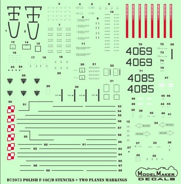 Model Maker Decals 1/72 Polish Lockheed-Martin F-16C/D Stencils # D72073