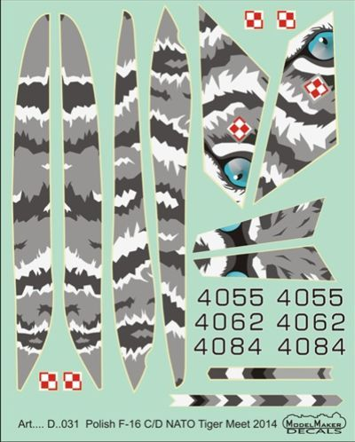 Model Maker Decals 1/72 Polish Lockheed-Martin F-16C/F-16D NATO Tiger Meet 2014 # D72031