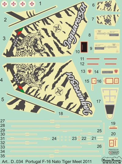 Model Maker Decals 1/72 Portuguese F-16 NTM 2011 # D72034
