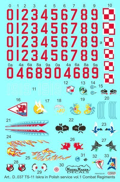 Model Maker Decals 1/72 PZL TS-11 'Iskra' in Polish Service Vol.1 # D72037