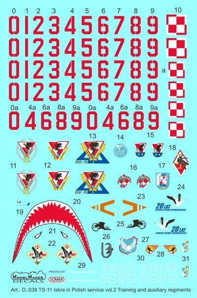 Model Maker Decals 1/72 PZL TS-11 'Iskra' in Polish Service Vol.2 # D72038