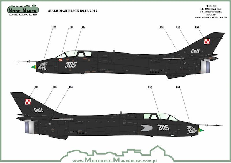 Model Maker Decals 1/72 Sukhoi Su-22 Black Boar 2017 with Stencils # D72104