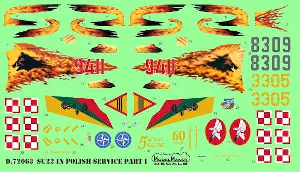 Model Maker Decals 1/72 Sukhoi Su-22 in Polish Service Part I # D72063