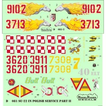 Model Maker Decals 1/72 Sukhoi Su-22 in Polish Service Part II # D72081