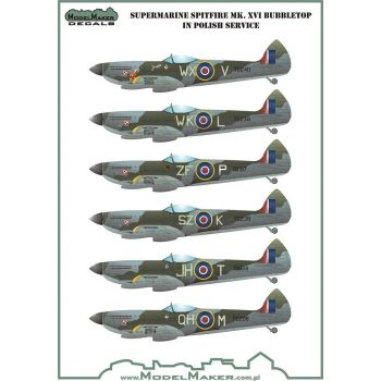 Model Maker Decals 1/72 Supermarine Spitfire Mk.XVI Bubbletop in Polish Service # D72066
