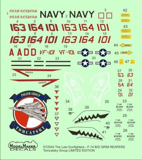 Model Maker Decals 1/72 The Last Gunfighters - Grumman F-14B/D Tomcat GRIM REAPERS # D72045