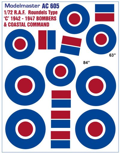 Modelmaster Decals 1/72 R.A.F Roundels 'Type C' 1942-1947 # AC605