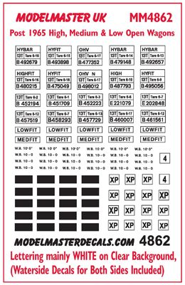 Modelmaster Decals - B.R. High, Medium and Low Open Wagons # 4862