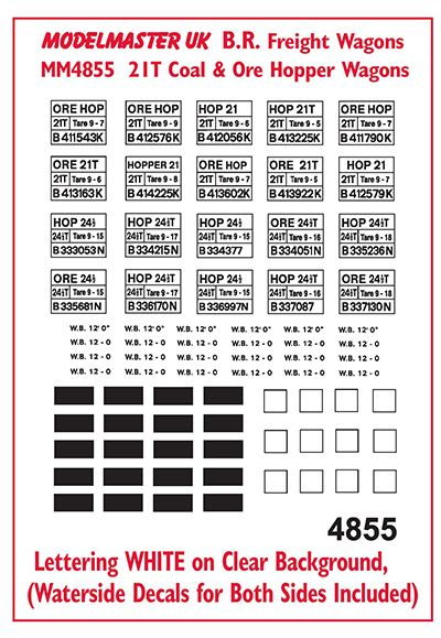 Modelmaster Decals - Coal & Ore Hopper Wagons # 4855