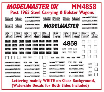 Modelmaster Decals - Four Wheeled and Bogie Steel Carrying & Bolster Wagons # 4858