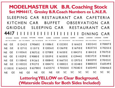 Modelmaster Decals - Numbering & Lettering for Ian Kirk ex LNER Coach Kits # 4417