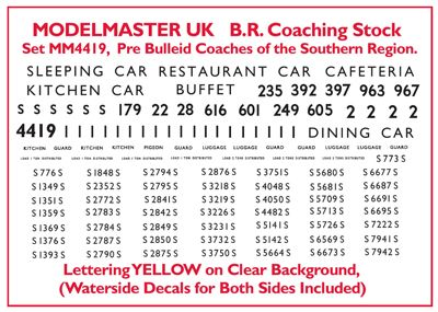 Modelmaster Decals - Numbering & Lettering for Ian Kirk S.R. Coach Kits. Yellow # 4419