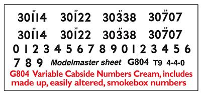 Modelmaster Decals - Smoke Box & Cab Side Numbers - T9 - 4-4-0 # G804