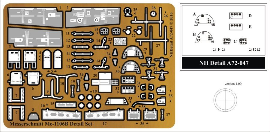 NH Detail 1/72 Messerschmitt Me-1106B Detail Set # NHA72047
