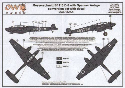 Owl 1/32 Messerschmitt Bf-110D-3 with Spanner Anlage Conversion Set with Decals # R3206