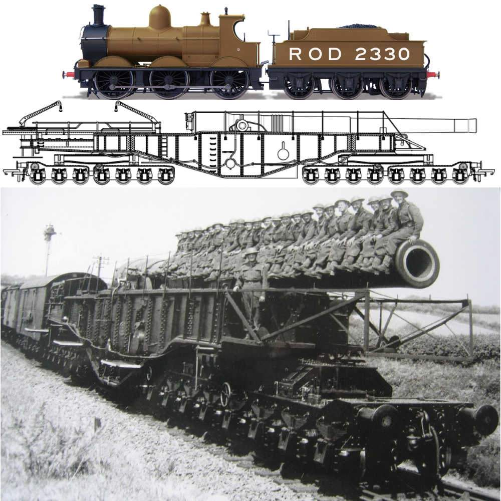 Oxford Rail 1/76 WWI Boche Buster Railgun (Camouflage) and ROD 2330 # OR76BOOM01