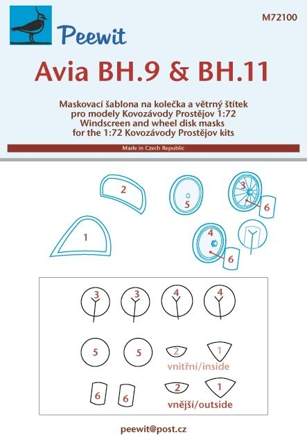 Peewit 1/72 Avia BH.9 & BH.11 Windscreen & Wheel Disk Masks # 72100