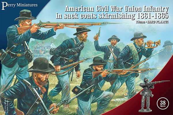 Perry Miniatures 28mm American Civil War Union Infantry in Sack Coats Skirmishing 1861-65 # ACW120