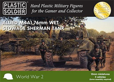 Plastic Soldier 15mm Allied M4A1 76mm Wet Stowage Sherman Tank x