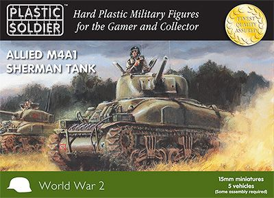 Plastic Soldier 15mm Allied M4A1 Sherman Tank # WW2V15004