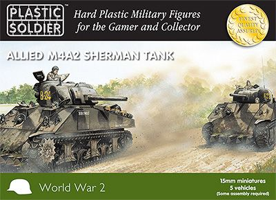 Plastic Soldier 15mm Allied M4A2 Sherman Tanks x5 # WW2V15006