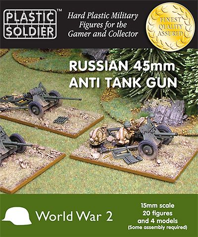 Plastic Soldier 15mm Russian 45mm Anti Tank Gun # WW2G15001