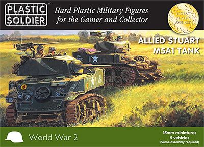Plastic Solider 15mm WWII Allied M5A1 Stuart Tank # WW2V15021