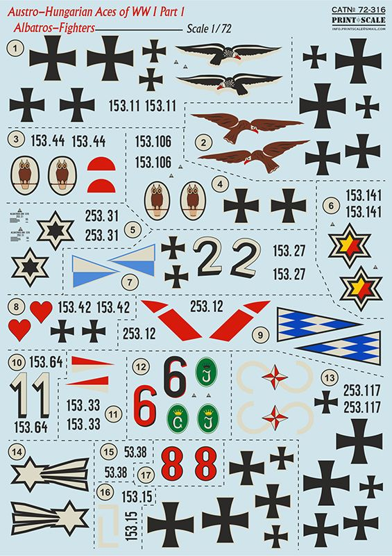 Print Scale 1/72 Austro-Hungarian Aces Albatros D.III - Fighters # 72316