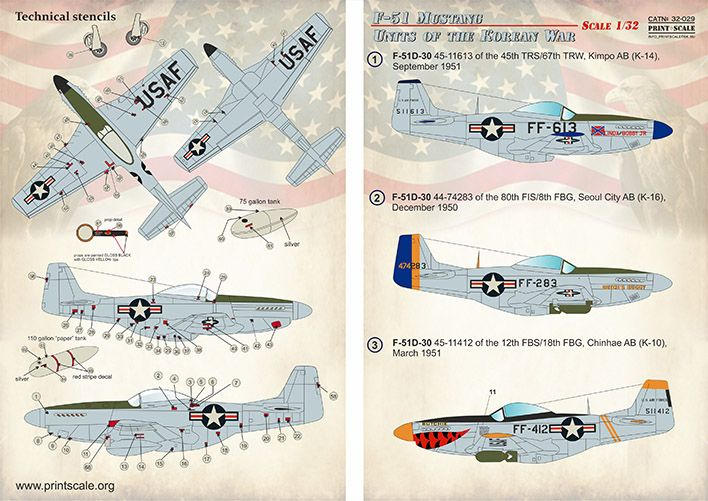 Print Scale Decals 1/32 North-American F-51 Mustang Units of the Korean War # 32029
