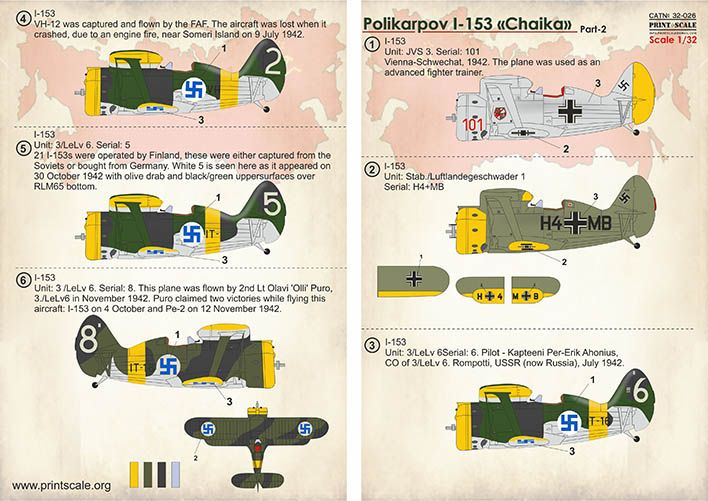 "Print Scale Decals 1/32 Polikarpov I-153 ""Chaika"" Part 2 # 32026"