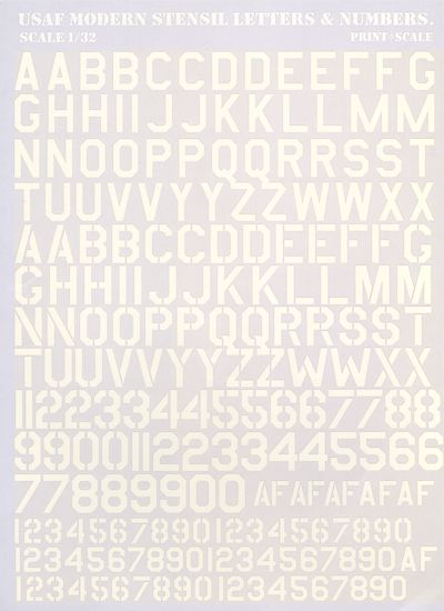 Print Scale Decals 1/32 USAF Modern Stencil Letters & Numbers in White # 32001