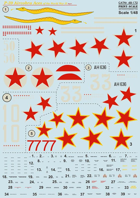 Print Scale Decals 1/48 Bell P-39 Aircobra Aces Part 1 # 48172