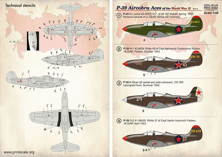 Print Scale Decals 1/48 Bell P-39 Aircobra Aces Part 2 # 48143