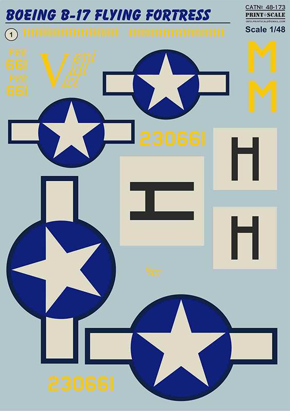 "Print Scale Decals 1/48 Boeing B-17F Flying Fortress ""Veni. Vidi. Vici."" # 48173"