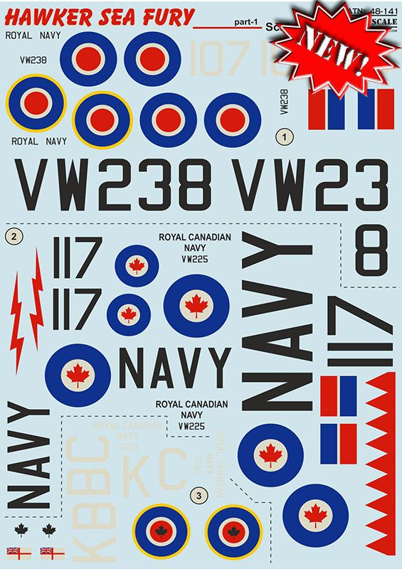 Print Scale Decals 1/48 Hawker Sea Fury Part 1 # 48141
