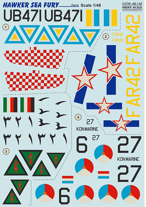 Print Scale Decals 1/48 Hawker Sea Fury Part 2 # 48142